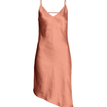 Asymmetric Satin Dress - from H&M