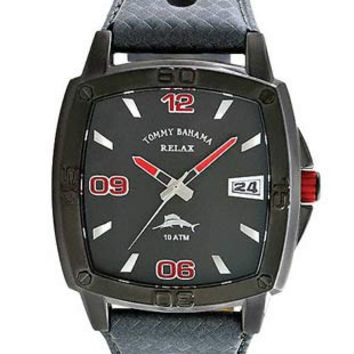 Tommy Bahama Relax Mens Baja Strap Watch - Gunmetal and Red Dial - Gunmetal Case