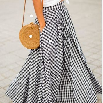 Women Vintage Plaid High Waist Swing Pocket Zipper A-Line Spring Summer Autumn Cotton  Floor Length Plus Big Size Maxi Skirt