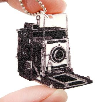 Vintage Camera Shaped Hand Drawn Pendant Necklace | Handmade Shrink Plastic