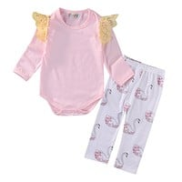 Newborn baby girls clothing sets Baby Girls Pink Romper Jumpsuit Bodysuit+Swan Pants Clothes Outfits