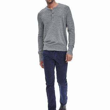 Banana Republic Mens Extra Fine Merino Wool Henley Sweater Pullover