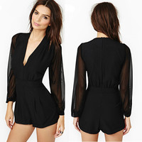 Womens Career Long Sleeve Chiffon Rompers Casual Short Pant Deep V-Neck Jumpsuit