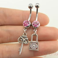 belly ring,bestfriend bellyring,belly button jewelry,key and lock belly button rings,lucky piercing belly ring,friendship piercing bellyring