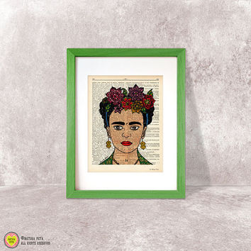 Frida Kahlo print-Frida Kahlo dictionary print-Frida wall art-Frida print-mexican print-Frida poster-hand drawn Frida art-NATURA PICTA-DP020
