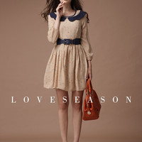 Sweet Printing Long Puff Sleeve Draped Chiffon Dress - LoveSeason.com