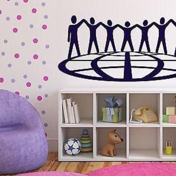 Wall Sticker Vinyl Decal Friendship Nations Peace Globe Holding Hands Unique Gift (n048)