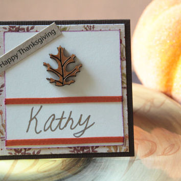 Thanksgiving Place Cards - Handmade Thanksgiving Placecards - Name Cards for Place Settings
