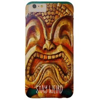 """Stay Weird"" Quote, Fun Retro Wood Tiki Face Photo Barely There iPhone 6 Plus Case"