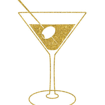Gold Glitter Cocktail Print / Bar Decor / Martini Print / Cocktail Wall Art / Bar Print / Bar Art / Gold Glitter Print / Up to 13x19