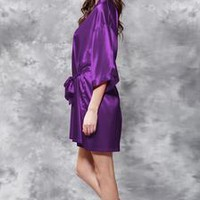 Satin Kimono Purple Short Robe - Bridesmaid, Maid of Honor, Flowergirl
