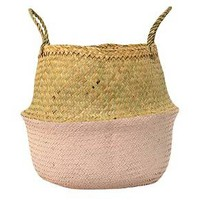 "Seagrass Basket with Handles - Natural/Rose (13"") - 3R Studios : Target"