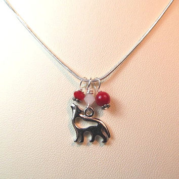 Charm necklace silver wolf charm with red beads