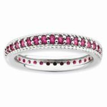 Sterling Silver Polished Created Ruby Eternity Ring