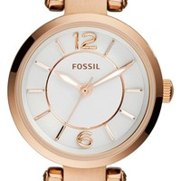 Women's Fossil 'Georgia' Round Leather Strap Watch, 26mm