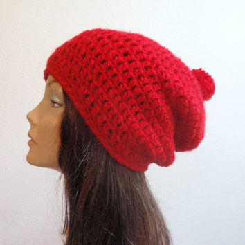Slouchy Beanie, Womens Beanie, Womens Hat, Red Pom Pom,  Womens Accessories, Crochet Hat, Knit Beanie, Red Slouch Beanie