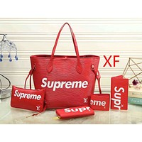 Supreme tide brand fashion ladies handbags bags five sets  F Red