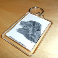 Key Chain Newfoundland Dog drawing print Gunilla Wachtel art newfy