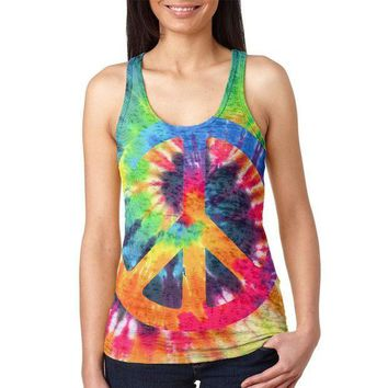 ESBGQ9 Peace Sign Tie Dye Juniors Burnout Racerback Tank Top