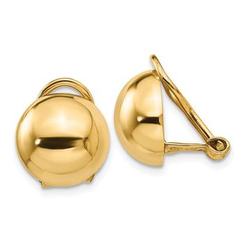 14K Yellow Gold Non-pierced Half Ball Omega Back Earrings