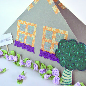 New Home Card. New Home Congrats. Paper House. New House Congratulations Card w/ purple flowers