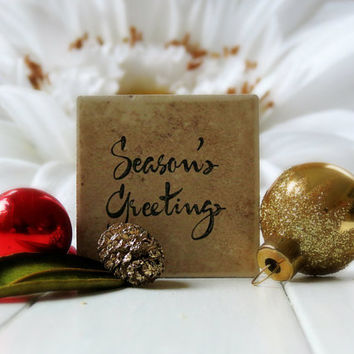 Christmas in July / Holiday Magnet / Fridge Magnet / Tile Magnet / Holiday Decor / Holiday Sign / Christmas Wedding Favor / Season Greetings