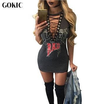 GOKIC Letter Print Sexy Short Dress Summer T Shirt Dress Women V Neck Lace Up Bodycon Bandage Party Dresses Vestidos