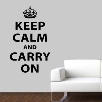 Keep Calm and Carry On Wall Decal - British Quote Decal - Large