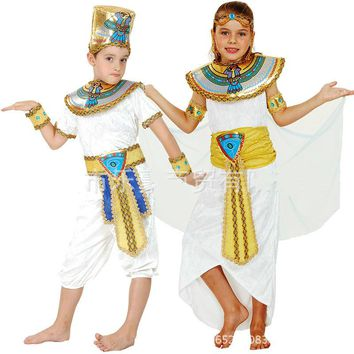 Children Kids Halloween Costumes Boy Girl Ancient Egypt Egyptian Pharaoh Cleopatra Prince Princess Costume Cosplay fashion new