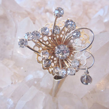 Vintage 50s Flower Bouquet Brooch Rhinestones Miraculous Medal Mary Gold Tone Rhinestone Flower Pin Mid Century Costume Jewelry