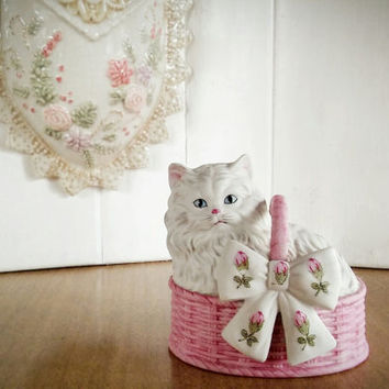 Vintage Japan Musical Cat Figure Bisque Pink, Vintage Mann Japan Shabby Chic Pink Cat Musical Figurine