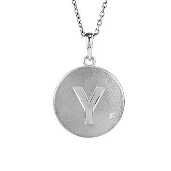 The Emma Sterling Silver Diamond Accent Block Y Disc Necklace, 18 Inch