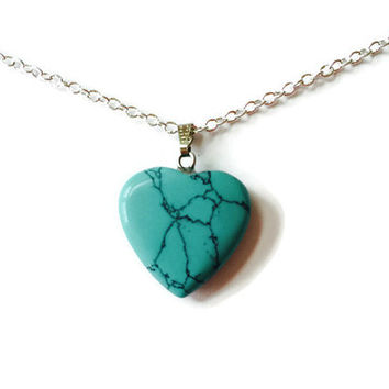 Turquoise heart necklace gemstone heart pendant turquoise chakra necklace healing necklace reiki necklace girlfriend necklace heart