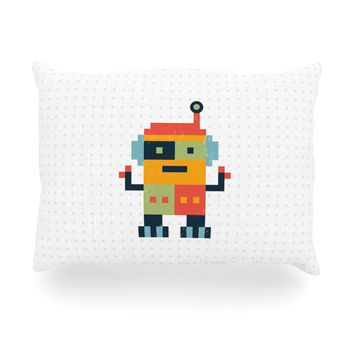 "Daisy Beatrice ""Happy Robot"" Multicolor Oblong Pillow"