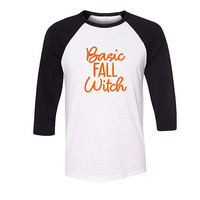 Basic Fall Witch Halloween Shirt, Funny Halloween Shirt, Trendy Shirt, Halloween Shirt, Baseball Shirt, Raglan Shirt