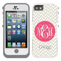 Herringbone Monogrammed Otterbox Preserver Series Waterproof iPhone 5 and iPhone 5s Case by Boutique Me