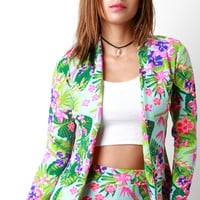 Blooming Tropical Flowers Open Front Blazer