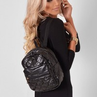 Rosalina Black Quilted Mini Backpack | Pink Boutique