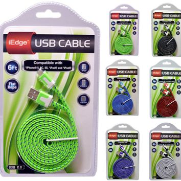6 foot flat rope cable for iphone 5/6 Case of 12