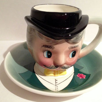 Vintage Post WWII Japan NC Man Tea Cup and Saucer Very Cute