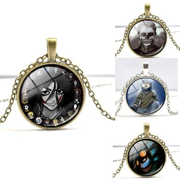 Anime Creepypasta Jeff the Killer CREEPY PASTA Glass Pendant Necklace Christmas Gift for Children Steampunk Long Necklace
