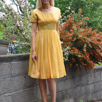 Vintage 1950s dress | yellow organza jeweled 50s party dress • Belle dress