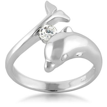 925 Sterling Silver Cubic Zirconia CZ Dolphin Porpose Fish Ring Size 7