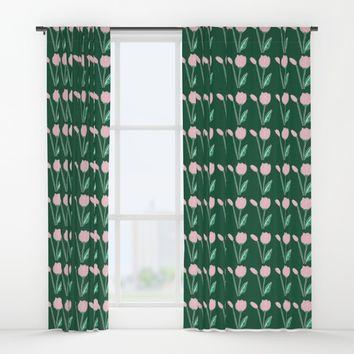 Tulips Pattern in Light Pink and Dark Green Window Curtains by Artist Abigail