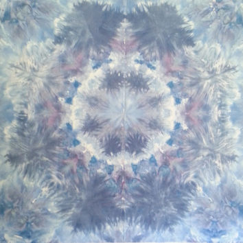 Mandala tie dye tapestry in pastel blues and lavender