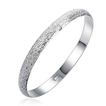 silver plated bangles Sand circle women bracelet floating charms SMTB 54 MP