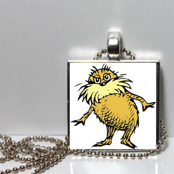 Dr Seuss Lorax Square Tile Pendant Necklace SALE by Pendantmonium