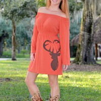 ONE SIZE- Orange long sleeve buck head dress