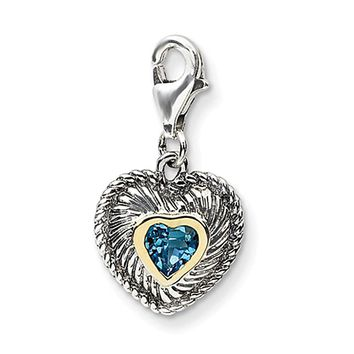 925 Sterling Silver 14kt Gold Rimmed 3D Blue Topaz Heart Clasp Charm