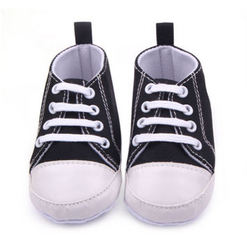 Baby Boy Girls Toddler Canvas Shoes Soft Sole Antislip Crib First Walkers 12 Colors SM6